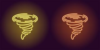 Neonpictogram van Gele en Oranje Tornado stock illustratie