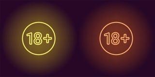 Neonpictogram van leeftijdsgrens voor onder 18 stock illustratie