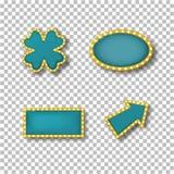 Neonrahmen in der Form des Kleeblattes, Oval, Rechteck, Zeiger vektor abbildung