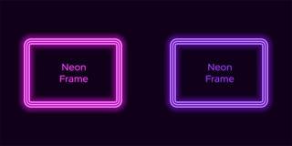 Neonrechteckrahmen in der purpurroten und violetten Farbe lizenzfreie abbildung