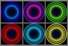 Neonrundaram Glänsande cirkelbaner också vektor för coreldrawillustration stock illustrationer
