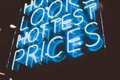 Hottest prices neon sign Royalty Free Stock Image