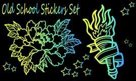 Neonschetsen van een tatoegering Royalty-vrije Stock Foto