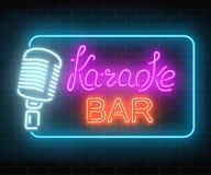 Neonskylt av karaokemusikstången Glödande gatatecken av en nattklubb med levande musik Solid kafésymbol stock illustrationer