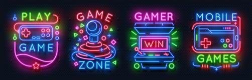 Neonspielzeichen Retro- Videospielnachtlichtikonen, Spielvereinembleme, gl?hende Plakate des S?ulengangs Vektorspiel lizenzfreie abbildung