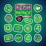 Neonst Patricks het Pak van de Dagsticker Stock Fotografie