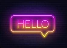 Neonsteigungszeichen des Wortes hallo im Spracheblasenrahmen auf dunklem Hintergrund vektor abbildung