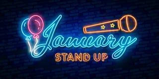Neonsymbol för Januari: Månadnamn med färgrika beståndsdelar: Vektorillustration Glödande neontecken, ljust glöda vektor illustrationer