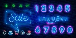 Neonsymbol för Januari: Månadnamn med färgrika beståndsdelar: Vektorillustration Glödande neontecken, ljust glöda annonsera, stock illustrationer