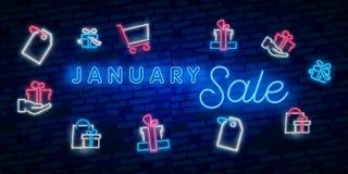 Neonsymbol för Januari: Månadnamn med färgrika beståndsdelar: Vektorillustration Glödande neontecken, ljust glöda annonsera, royaltyfri illustrationer