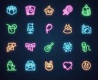 Neonsymboler för musik, ferie, romantiker, partitema 20 fluorescerande etiketter som isoleras på svart Annonsering av ledd logo royaltyfri illustrationer