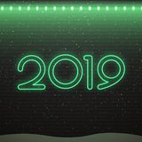 Neontecken av logoen 2019 för garnering på bakgrunden för tegelstenvägg Begrepp av glad jul och det lyckliga nya året vektor illustrationer