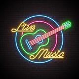 Neontecken för levande musik med gitarren och bokstav på bakgrund för tegelstenvägg Planlägg mallen för garnering, räkningen, rek royaltyfri illustrationer