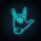 Neontecken med blått glöd Handgesten, vaggar n-rulle stock illustrationer