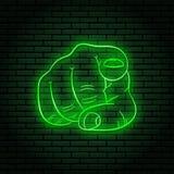 Neontecken med ett grönt glöd Handgest, pekfinger som pekar på dig vektor illustrationer