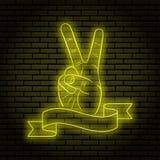 Neontecken med ett gult glöd Handgesten, två fingrar, visar fred På en bakgrund för tegelstenvägg för din design Med bandet vektor illustrationer
