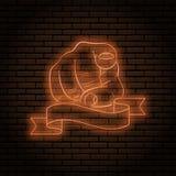Neontecken med ett orange glöd Handgest, pekfinger som pekar på dig På en bakgrund för tegelstenvägg för din design stock illustrationer