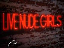 Neontecken röda Live Nude Girls Fotografering för Bildbyråer