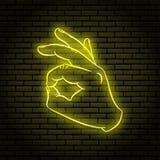 Neonteken met een gele gloed Het handgebaar, toont o.k. vector illustratie