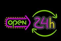 Neonteken 24 uur op 24 uur Open op Zwarte Achtergrond Royalty-vrije Stock Foto