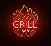 Neonteken van grillbar Stock Fotografie