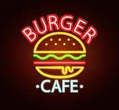 Neonteken van hamburgerkoffie Stock Fotografie
