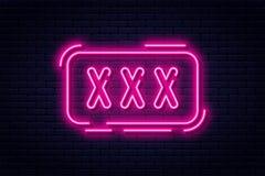 Neonteken, volwassenen slechts, 18 plus, geslacht en xxx Beperkte inhoud, erotische videoconceptenbanner, aanplakbord of uithangb royalty-vrije illustratie
