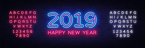 2019 neontext för lyckligt nytt år Designmall för nytt år 2019 för säsongsbetonade reklamblad och hälsningskort eller themed jul royaltyfri illustrationer