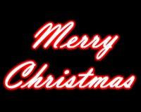 Neontitel der frohen Weihnachten Lizenzfreies Stockbild