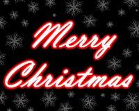 Neontitel der frohen Weihnachten mit Schneeflocken Stockbild