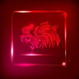 Neontupp på mörker - röd bakgrund med den glänsande ramen stylized Royaltyfri Illustrationer