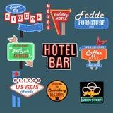 Neonuithangborden, aanplakborden, lichte dozen en verkeerstekenreeks vectorillustraties royalty-vrije illustratie