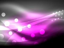 Neonwellenhintergrund mit Lichteffekten, curvy Linien mit den funkelnden und glänzenden Punkten, glühende Farben in der Dunkelhei stock abbildung