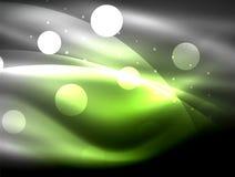 Neonwellenhintergrund mit Lichteffekten, curvy Linien mit den funkelnden und glänzenden Punkten, glühende Farben in der Dunkelhei vektor abbildung