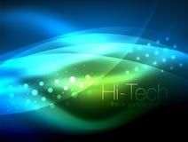 Neonwellenhintergrund mit Lichteffekten, curvy Linien mit den funkelnden und glänzenden Punkten, glühende Farben in der Dunkelhei lizenzfreie abbildung