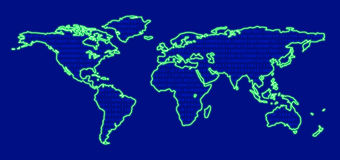 Neonworldmap digital lizenzfreie abbildung