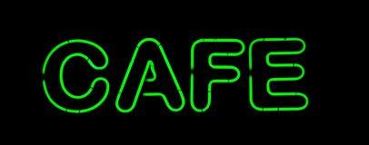 Neonzeichen des grünen Kaffee lizenzfreies stockbild