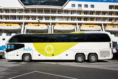 Neoplan Cityliner of tide ASA. Waiting at AIDAsol for shore excursion passengers. Tide is one of the largest coach companies in Norway Stock Photo