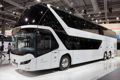 Neoplan Skyliner double decker coach. HANNOVER, GERMANY - SEP 21, 2016: Neoplan Skyliner double decker coach on display at the International Motor Show for Royalty Free Stock Images