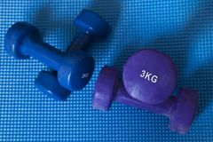 Neoprene coated iron dumbbells, a pair of three kg and a pair of two kg. Horizontal shot of pile of sport equipment used for muscle toning, aerobic and weight Stock Image