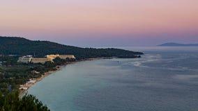Neos Marmaras海滩日落 库存照片