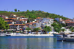 Neos Marmaras. Typical greek town in Sithonia, Chalkidiki Royalty Free Stock Images