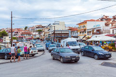 NEOS MARMARAS, GREECE - JUNE 13, 2009: Busy traffic with autos a Stock Photo