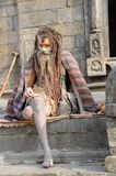 Nepal 2011, sadhus at a temple Royalty Free Stock Photography