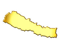 Nepal 3d Golden Map. Isolated in white Stock Images