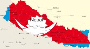 Nepal. Vector map of Nepal country colored by national flag Stock Image