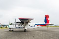 Nepal Airlines Harbin Y-12E airplane at Pokhara Airport stock photos