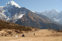 Nepal - Airstrip. Himalayan airports - Namche Baazar - airstrip at 4000 meters above see level Royalty Free Stock Images