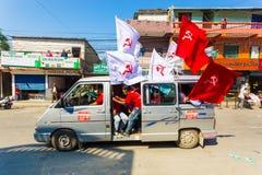 Nepal 2017 bandeiras maoistas dos suportes de partido das eleições Imagens de Stock