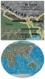 Nepal Bhutan Bangladesh and Asia Oceania map Stock Images
